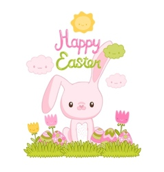 Happy easter cartoon cute bunny and eggs with vector