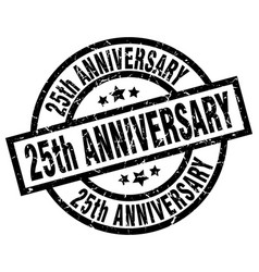 25th anniversary round grunge black stamp vector
