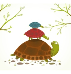Turtle mother and babies childish animal vector