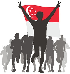 Athlete with the singapore flag at the finish vector