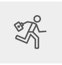 Paramedic running with first aid kit thin line vector