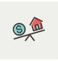 Compare or exchange home to money thin line icon vector