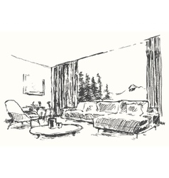 Modern interior cozy room nature drawn sketch vector