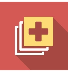 Medical documents flat square icon with long vector