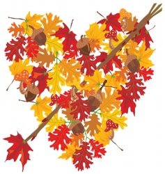 autumn heart vector image vector image