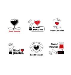 Blood donation logo or emblem set vector image