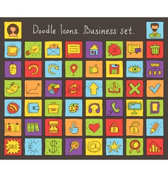 business colored doodle icons vector image
