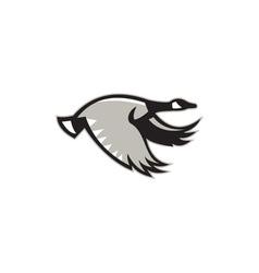 Canada goose flying retro vector