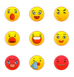 different type of emotion icons set flat style vector image