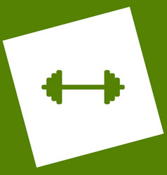 Dumbbell weights sign white icon obtained vector