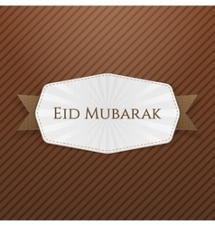 Eid mubarak emblem with ribbon vector