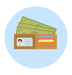 Flat Design Wallet with Money vector image vector image