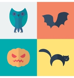 Flat Halloween Icons vector image vector image