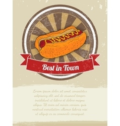 Food Banner with Hot-Dog for advertising vector image vector image