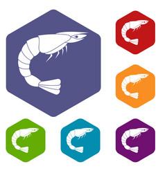 Fresh sea shrimp icons set hexagon vector