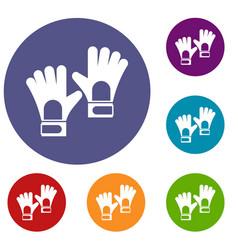 Gloves of goalkeeper icons set vector