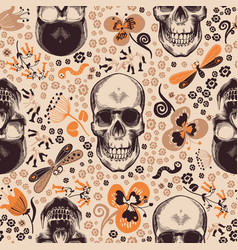 gorgeous floral seamless pattern with skeleton vector image vector image