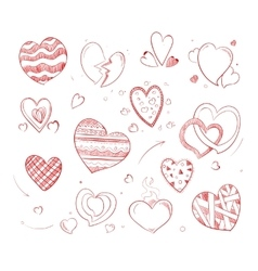 Hand drawn hearts doodle icons for wedding vector