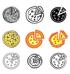 icons pizza vector image vector image