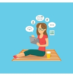Internet user woman with tablet vector image