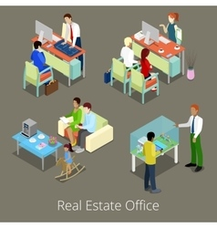 Isometric Real Estate Office Managers and Clients vector image
