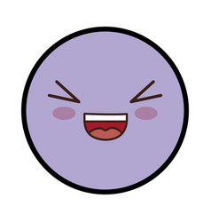 Kawaii happy face vector