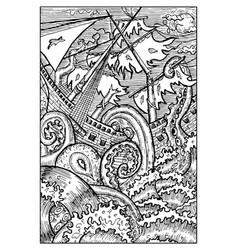 kraken the giant octopus engraved fantasy vector image