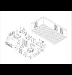 Line furniture set in isometric view vector