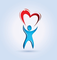 man and heart vector image