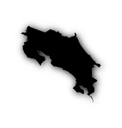 Map of costa rica with shadow vector