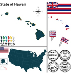 Map of Hawaii vector image vector image