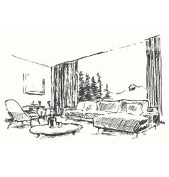 Modern interior cozy room nature drawn sketch vector