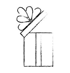 Open gift box ribbon cube decorative sketch vector