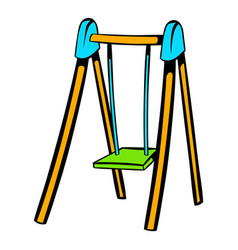 Playground swing icon icon cartoon vector