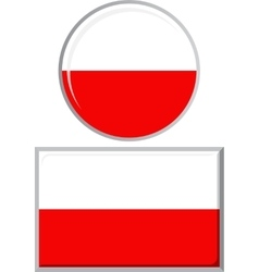 Polish round and square icon flag vector