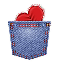 Rear pocket with lace heart vector