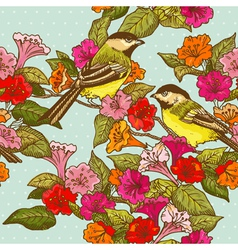 Seamless Pattern - Flowers and Birds vector image