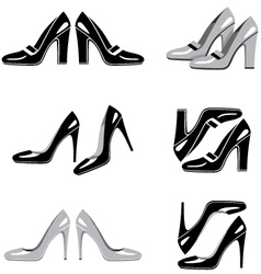 Set of icons of women shoes vector image