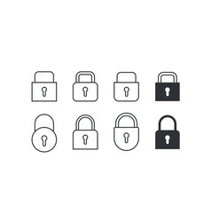 set of locks icons on white background vector image