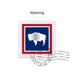 State of wyoming flag postage stamp vector