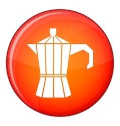 Steel retro coffee pot icon flat style vector
