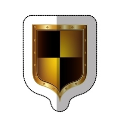 Sticker golden rounded shield with colorful vector