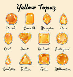Types of cuts of yellow topaz vector