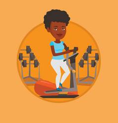 woman exercising on elliptical trainer vector image