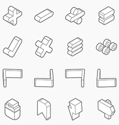 Isometric outline icons 3d pictograms vector
