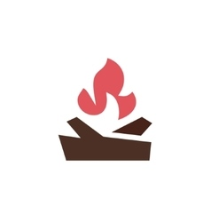 Fire with wood in the camp qualitatively vector