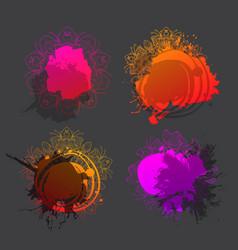 splash floral background set vector image