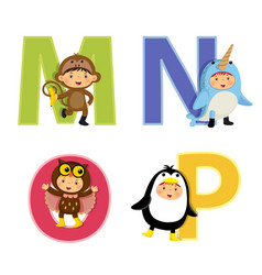 English alphabet with kids in animal costume m-p vector