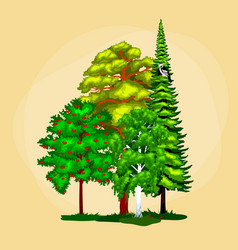 Green forest summer trees collection in nature vector