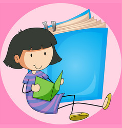 Girl reading book with big book background vector
